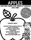 APPLES: ONE PAGE SPEECH & LANGUAGE DATA SHEET