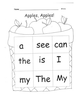 APPLES and PUMPKINS Sight Words Practice PACK 19 pages Printable Centers RF.K.3c