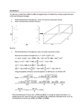 APPLICATIONS OF DERIVATIVES: OPTIMIZATION