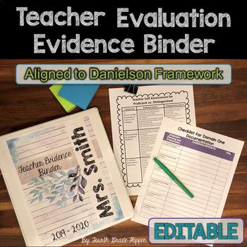 Danielson Teacher Evidence Binder Evaluation {EDITABLE} Organizers for APPR