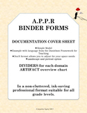 APPR Binder Forms, Dividers, Evidence Cover Sheet, Simple Professional Format