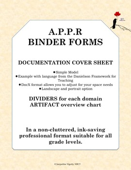 APPR Binder Forms, Dividers, Evidence Cover Sheet, Simple