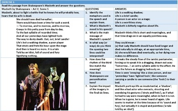 APPRECIATING SHAKESPEARE: LESSON & WORKSHEETS