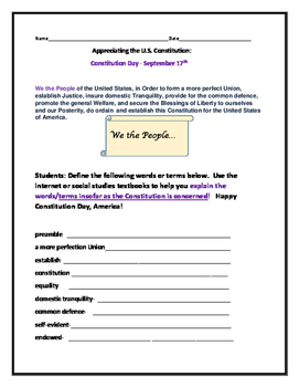 APPRECIATING THE U.S. CONSTITUTION/VOCABULARY ACTIVITY