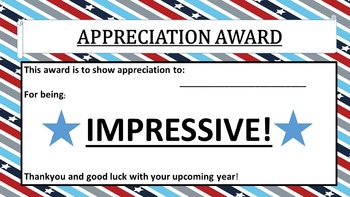 APPRECIATION AWARDS A TO Z