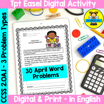 APRIL - 2ND GRADE MATH WORD PROBLEMS IN ENGLISH - CCSS 2.0A.1 by ...