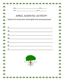 APRIL ACROSTIC ACTIVITY, GRADES 3-6