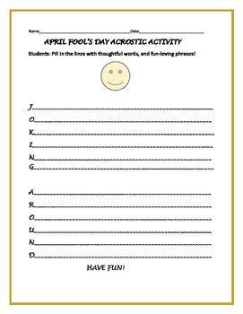 APRIL FOOL'S DAY ACROSTIC ACTIVITY