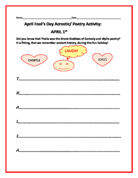 APRIL FOOL'S DAY: ACROSTIC ACTIVITY: THALIA