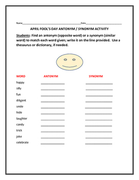 APRIL FOOL'S DAY ANTONYM & SYNONYM ACTIVITY