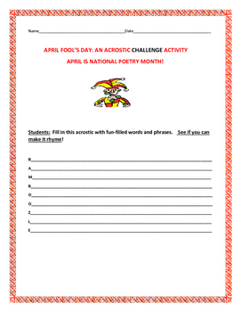 APRIL FOOL'S DAY CHALLENGE ACROSTIC ACTIVITY