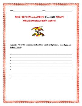 APRIL FOOL'S DAY CHALLENGE ACROSTIC ACTIVITY