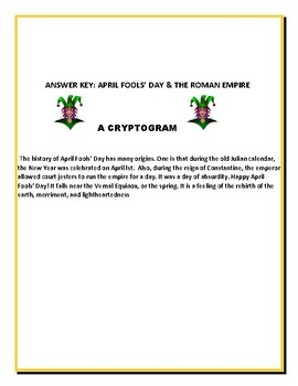 APRIL FOOL'S DAY CRYPTOGRAM- A FUN DECIPHERING ACTIVITY