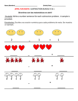APRIL FUN MATH/ SUBTRACTION SENTENCES/BUNDLE :  K &1 ESL