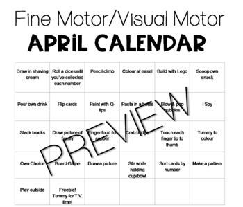 APRIL Fine Motor/Visual Motor (Daily Activities)