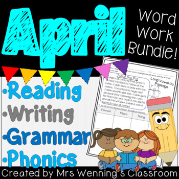 1st Grade APRIL Weekly Lesson Planner Bundle with Activities & Word Work!