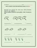 APRIL MATH FUN: ADDITION SENTENCES/ BUNDLE: ESL K & 1