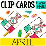 APRIL Math Centers - Clip Card Task Boxes 1st Grade