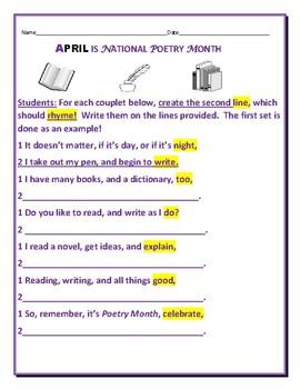 APRIL: NATIONAL POETRY MONTH ACTIVITY
