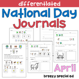 APRIL National Days Differentiated Journals for special education