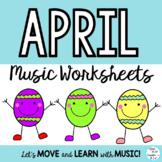April Music Classs Worksheets: Composition, Rhythm, Symbols, Notes K-6