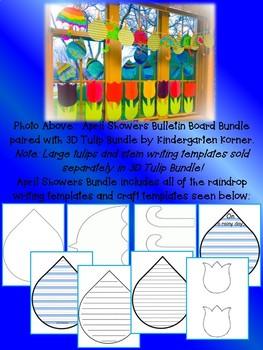 APRIL SHOWERS BRING MAY FLOWERS RAINDROP WRITING BULLETIN BOARD BUNDLE K 1 2 3