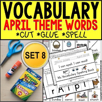 APRIL Vocabulary and Fine Motor MONTHLY Worksheets for Special Education
