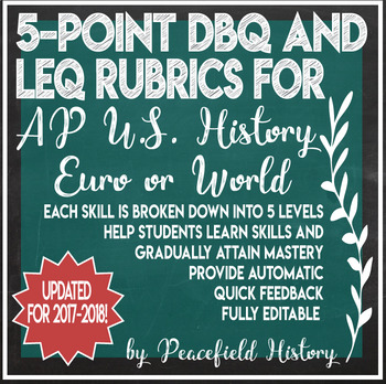 APUSH AP U.S. History 5 Point Grading Rubrics for the DBQ and the LEQ Updated
