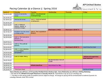APUSH APGOV Pacing Calendar @ a Glance EDITABE document