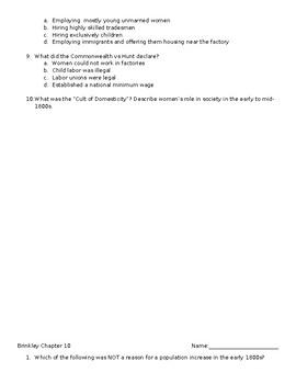 "APUSH Brinkley Chapter 10 Quiz- ""America's Economic Revolution"""