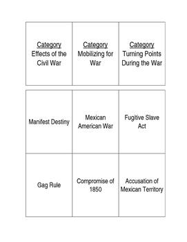 APUSH Civil War Card Game