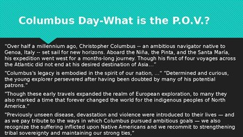APUSH Columbus Day and Point of View