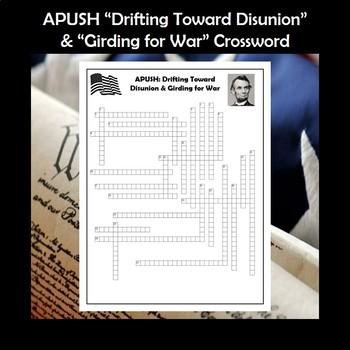 APUSH Drifting Toward Disunion & Girding for War Crossword Review
