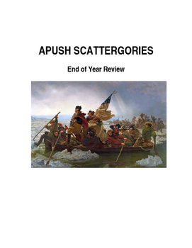 APUSH End of Year Review Scattergories