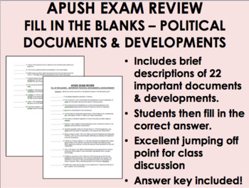 APUSH Exam Review - Fill in the Blanks - Documents & Developments Worksheet