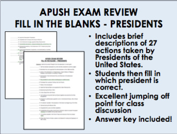 APUSH Exam Review - Fill in the Blanks - Presidents Worksheet