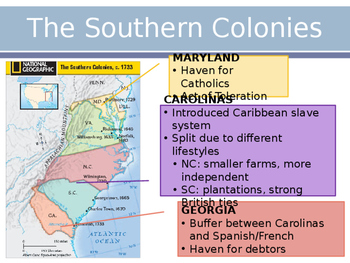 AP US History Key Period 2: The Southern Colonies PowerPoint Lecture