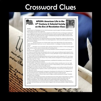 APUSH Life in the 17th Century & Colonial Society Vocabulary Crossword Review