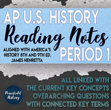 APUSH - Period 1 - Guided Reading Worksheets - America's History - Henretta