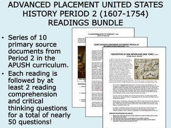 APUSH Period 2 (1607-1754) Readings Bundle