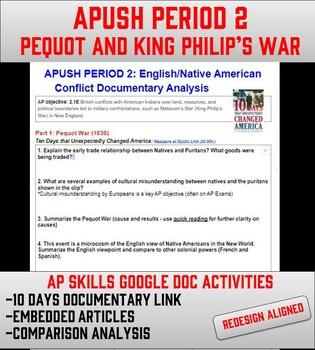 APUSH Period 2: English vs. Native American Conflicts (Pequot/King Philip's War)