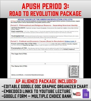 APUSH Period 3: Road to Revolution Lesson & Google Form Assessment