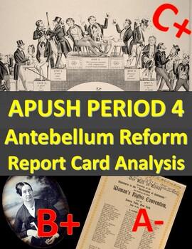 APUSH Period 4: Antebellum Reform Report Card Analysis Activity