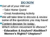 APUSH Period 4 Notes #10 - Antebellum Reformers