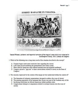 APUSH Period 4 Part 2 Stimulus Based Multiple Choice Test Bank Questions