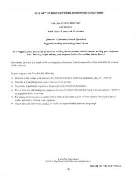 APUSH Period 5 Sectionalism DBQ