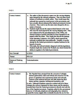 APUSH Period 6 Stimulus Based Multiple Choice Short Answer Test Part 1