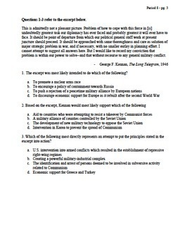 APUSH Period 8 Part 2 Stimulus Based Multiple Choice Test Bank Questions