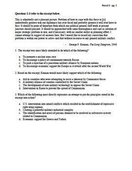 APUSH Period 8 Stimulus Based Multiple Choice Short Answer Test Bank