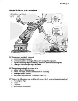 APUSH Period 9 Stimulus Based Multiple Choice Test Questions Test Bank